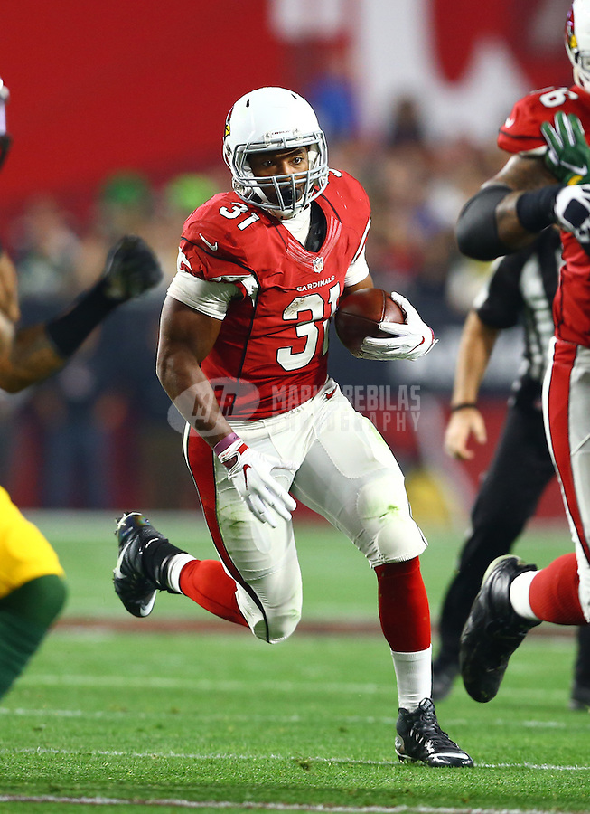 Jan 16, 2016; Glendale, AZ, USA; Arizona Cardinals running back David Johnson (31) against the Green Bay Packers during an NFC Divisional round playoff game at University of Phoenix Stadium. Mandatory Credit: Mark J. Rebilas-USA TODAY Sports