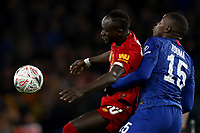 3rd March 2020; Stamford Bridge, London, England; English FA Cup Football, Chelsea versus Liverpool; Kurt Zouma of Chelsea competes for the ball with Sadio Mane of Liverpool