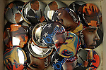 Barack Obama pins on sale in downtown Denver, Colorado on August 21, 2008.  The Democratic National Convention officially kicks off Monday August 25, 2008 at the Pepsi Center in Denver.