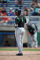 Dayton Dragons designated hitter Malik Collymore (6) at bat during a game against the Beloit Snappers on July 22, 2018 at Pohlman Field in Beloit, Wisconsin.  Dayton defeated Beloit 2-1.  (Mike Janes/Four Seam Images)