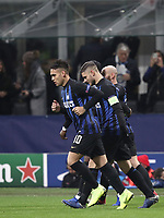 Football: UEFA Champions League -Group Stage - Group B - FC Internazionale Milano vs PSV Eindhoven, Giuseppe Meazza  (San Siro) Stadium, Milan Italy, December 11, 2018.<br /> Inter Milan's Captain Mauro Icardi (c) celebrates after scoring during the Uefa Champions League football match between Inter Milan and PSV Eindhoven at Giuseppe Meazza  (San Siro) Stadium in Milan on December 11, 2018. <br /> UPDATE IMAGES PRESS/Isabella Bonotto