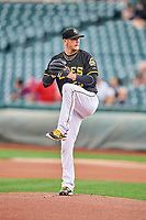 Salt Lake Bees starting pitcher Drew Gagnon (25) delivers a pitch to the plate against the Omaha Storm Chasers in Pacific Coast League action at Smith's Ballpark on May 8, 2017 in Salt Lake City, Utah. Salt Lake defeated Omaha 5-3. (Stephen Smith/Four Seam Images)