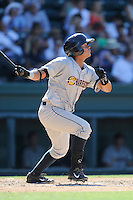 Catcher Rainiero Coa (30) of the Charleston RiverDogs bats in a game against the Greenville Drive on Sunday, June 28, 2015, at Fluor Field at the West End in Greenville, South Carolina. Charleston won, 12-9. (Tom Priddy/Four Seam Images)