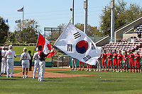 Nexen Heroes opening ceremonies during a game vs Team Canada at Al Lang Field in St. Petersburg, Florida;  February 28, 2011.  Canada defeated Nexen 2-0.  Photo By Mike Janes/Four Seam Images