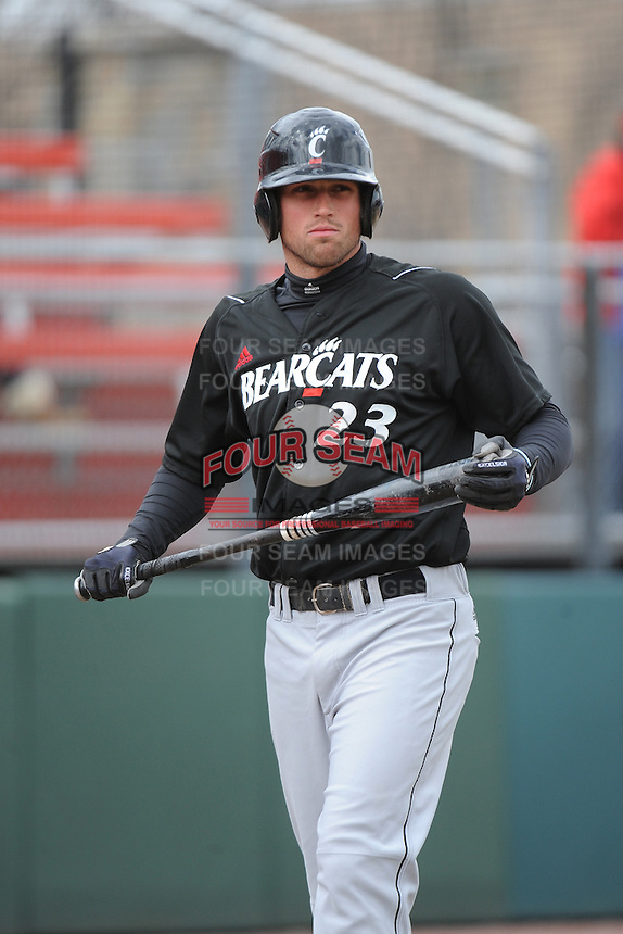 Cincinnati Bearcats infielder Jeff Murray (23) during 1st game of double header against the St. John's Redstorm at Jack Kaiser Stadium on March 28, 2013 in Queens, New York. St. John's defeated Cincinnati 6-5.      . (Tomasso DeRosa/ Four Seam Images)