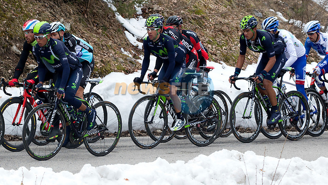 Nairo Quintana (COL) Movistar Team during Stage 5 of the 2015 Tirreno-Adriatico cycle race, running 197km from Esanatoglia to the summit of Terminillo Italy. 15th March 2015. <br /> Photo: ANSA/Claudio Peri/www.newsfile.ie