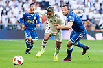 Real Madrid Mariano Diaz and U.D. Melilla Richi during King's Cup match between Real Madrid and U.D. Melilla at Santiago Bernabeu Stadium in Madrid, Spain. December 06, 2018. (ALTERPHOTOS/Borja B.Hojas)