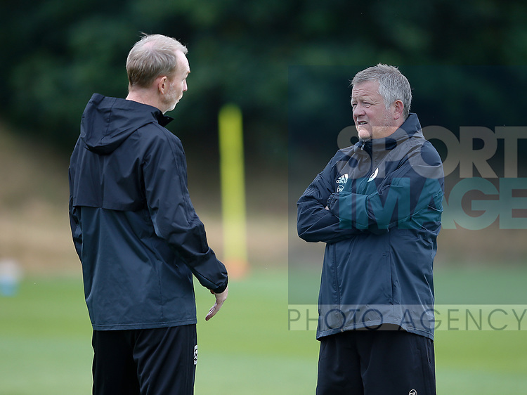 Alan Knill and Chris Wilder during the training session at the Shirecliffe Training complex, Sheffield. Picture date: June 27th 2017. Pic credit should read: Simon Bellis/Sportimage