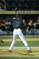 Nick DiPonzio (7) of the Wake Forest Demon Deacons at bat against the Virginia Cavaliers at David F. Couch Ballpark on May 18, 2018 in  Winston-Salem, North Carolina.  The Cavaliers defeated the Demon Deacons 15-3.  (Brian Westerholt/Four Seam Images)