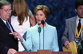 New York, NY - August  31, 2004 -- First Lady Laura Bush does a microphone check prior to her scheduled speech at the 2004 Republican National Convention in Madison Square Garden in New York, New York on Tuesday, August 31, 2004..Credit: Ron Sachs / CNP                                .(RESTRICTION: No New York Metro or other Newspapers within a 75 mile radius of New York City)