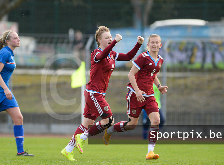 20150406 - MELUN , FRANCE  : Russian Alena Andreeva (11)  pictured celebrating her goal and the 3-0 lead for Russia  during the soccer match between Women Under 19 teams of Iceland and Russia , on the second matchday in group 3 of the UEFA Elite Round Women Under 19 at Stade Municipal , Melun , France . Monday 6th April 2015 . PHOTO DAVID CATRY