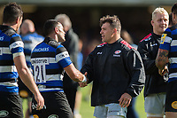 Kahn Fotuali'i of Bath Rugby and Schalk Brits of Saracens shake hands after the match. Aviva Premiership match, between Bath Rugby and Saracens on September 9, 2017 at the Recreation Ground in Bath, England. Photo by: Patrick Khachfe / Onside Images