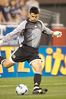 Pat Onstad kicks the ball out. The New England Revolution tied the Houston Dynamo, 1-1, on May 27 at Gillette Stadium.