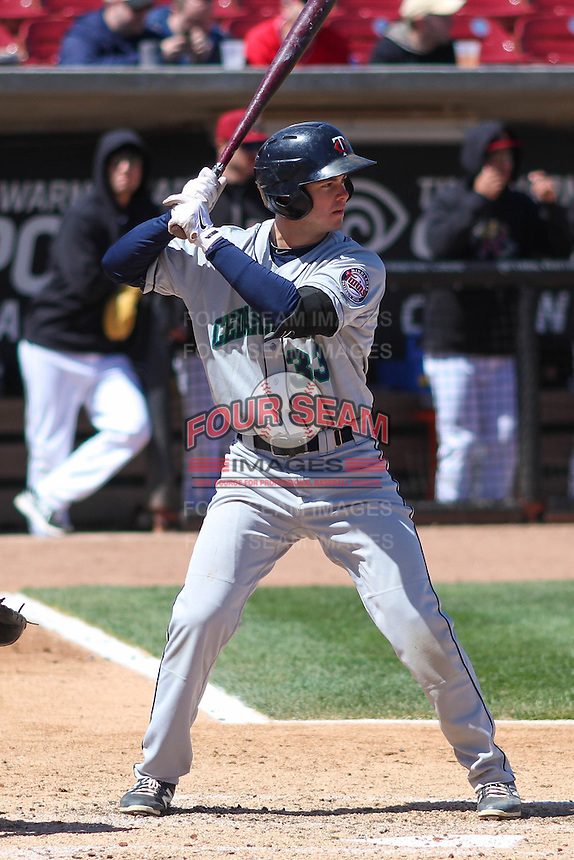 Cedar Rapids Kernels first baseman Trey Vavra (33) at bat during a game against the Wisconsin Timber Rattlers on April 23rd, 2015 at Fox Cities Stadium in Appleton, Wisconsin.  Cedar Rapids defeated Wisconsin 3-0.  (Brad Krause/Four Seam Images)