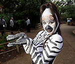 Crystal Reyna dazzled the crowd as a Zebra at the Zoo Friends of Houston's 22nd Zoo Ball Friday April 30,2010.  (Dave Rossman Photo)