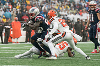 FOXBOROUGH, MA - OCTOBER 27: Cleveland Browns Cornerback Greedy Williams #26 prepares to tackle New England Patriots Runningback Sony Michel #26 during a game between Cleveland Browns and New Enlgand Patriots at Gillettes on October 27, 2019 in Foxborough, Massachusetts.