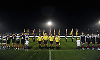Bath United, match officials and UK Armed Forces players line up prior to the match. Remembrance Rugby match, between Bath United and UK Armed Forces on November 9, 2015 at the Recreation Ground in Bath, England. Photo by: Patrick Khachfe / Onside Images