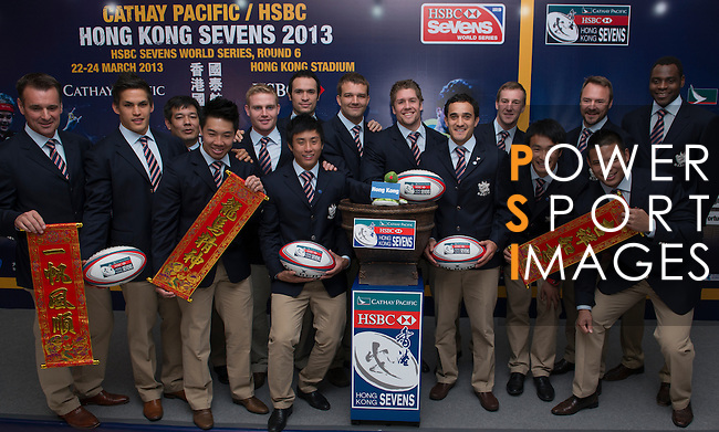 Members of the Hong Kong rugby squads pose for a group photo during the Cathay Pacific/HSBC Hong Kong Sevens 2013 Official Draw held at Hysan Place, Hong Kong on 21st February 2013. Photo Raf Sanchez / The Power of Sport Images