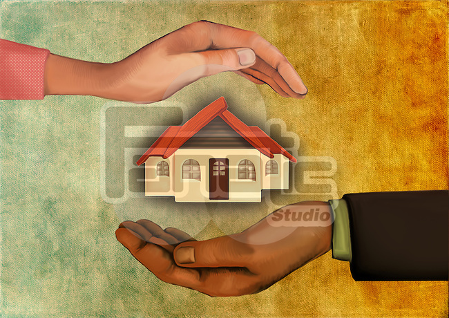 Illustrative image of human hands shielding model house representing home care