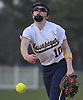 Julia Ruocchio #10, Massapequa pitcher, delivers to the plate in the bottom of the fourth inning of a Nassau County AA-1 varsity softball game against host East Meadow on Wednesday, April 11, 2018. Massapequa won by a score of 8-4.