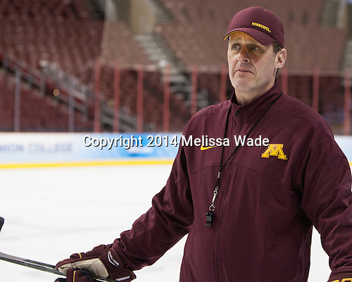 Mike Guentzel (MN - Associate Head Coach) - The University of Minnesota Golden Gophers practiced on Wednesday, April 9, 2014, at the Wells Fargo Center in Philadelphia, Pennsylvania during the 2014 Frozen Four.