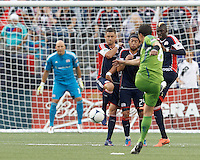 New England Revolution wall reacts to kick. New England Revolution defender Chris Tierney (8). New England Revolution midfielder Lee Nguyen (24). New England Revolution midfielder Saer Sene (39). In a Major League Soccer (MLS) match, the New England Revolution tied the Seattle Sounders FC, 2-2, at Gillette Stadium on June 30, 2012.