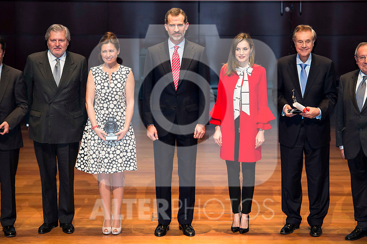 Iñigo Mendez de Vigo, Sara Baras, King Felipe VI of Spain and Queen Letizia during the delivery of the accreditations to the new ambassadors of the Marca España 2017 at Reina Sofia Museum in Madrid. March 14, 2017. (ALTERPHOTOS/Borja B.Hojas)