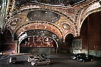 The decaying ceiling of the once magnificent Michigan Theatre. It has now been turned into a car parking garage and has become a symbol for the decline of Detroit.