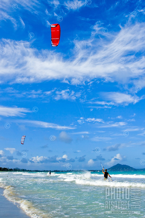 A kitesurfer launches from Kailua Beach into ideal conditions for a day of adventure on the water.