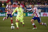 Atletico de Madrid´s Gabi and Barcelona´s Lionel Messi during 2014-15 Spanish King Cup match between Atletico de Madrid and Barcelona at Vicente Calderon stadium in Madrid, Spain. January 28, 2015. (ALTERPHOTOS/Luis Fernandez) /nortephoto.com<br />