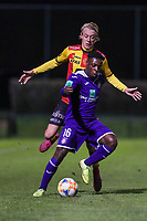 20191125 - WOLVERTEM: Anderlecht's Jeremy Doku is with the ball and Mechelen's Gaeten Bosiers is pressing during the Belgian Elite U21 league football match between RSC Anderlecht U21 and KV Mechelen U21 on Monday 25th of November 2019 at F. Lathouwersstadion, Wolvertem Belgium. PHOTO: SEVIL OKTEM|SPORTPIX.BE