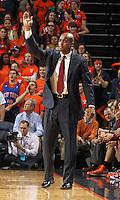 Virginia Tech head coach James Johnson calls a play during the game Tuesday in Charlottesville, VA. Virginia defeated Virginia Tech73-55.