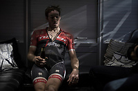With the first part of the season done for him, Gregory Rast (SUI/Trek-Segafredo) enjoys a cold beer back in the teambus after the race<br /> <br /> 115th Paris-Roubaix 2017 (1.UWT)<br /> One Day Race: Compiègne › Roubaix (257km)