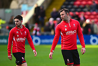 Lincoln City's Tom Pett, left, and Matt Rhead during the pre-match warm-up<br /> <br /> Photographer Andrew Vaughan/CameraSport<br /> <br /> The EFL Sky Bet League Two - Lincoln City v Newport County - Saturday 22nd December 201 - Sincil Bank - Lincoln<br /> <br /> World Copyright © 2018 CameraSport. All rights reserved. 43 Linden Ave. Countesthorpe. Leicester. England. LE8 5PG - Tel: +44 (0) 116 277 4147 - admin@camerasport.com - www.camerasport.com
