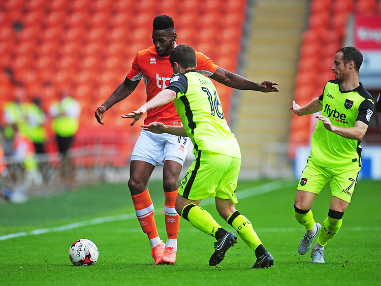 Blackpool's Jamille Matt under pressure from Exeter City's Matt Oakley<br /> <br /> Photographer Kevin Barnes/CameraSport<br /> <br /> Football - The EFL Sky Bet League Two - Blackpool v Exeter City - Saturday 6th August 2016 - Bloomfield Road - Blackpool<br /> <br /> World Copyright © 2016 CameraSport. All rights reserved. 43 Linden Ave. Countesthorpe. Leicester. England. LE8 5PG - Tel: +44 (0) 116 277 4147 - admin@camerasport.com - www.camerasport.com