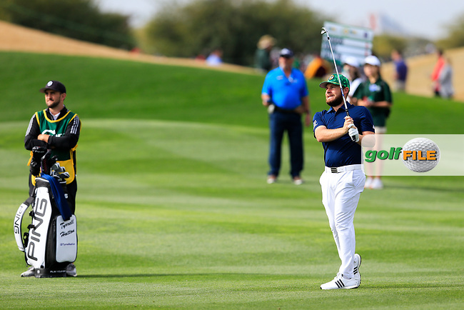 Tyrrell Hatton (ENG) on the 9th fairway during the 3rd round of the Waste Management Phoenix Open, TPC Scottsdale, Scottsdale, Arisona, USA. 02/02/2019.<br /> Picture Fran Caffrey / Golffile.ie<br /> <br /> All photo usage must carry mandatory copyright credit (&copy; Golffile | Fran Caffrey)