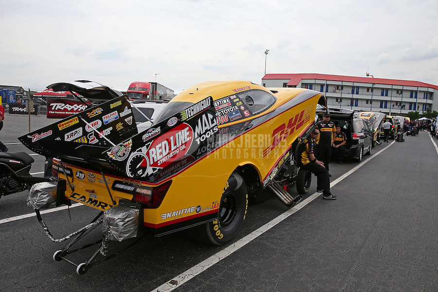 May 10, 2013; Commerce, GA, USA: NHRA funny car driver Del Worsham during qualifying for the Southern Nationals at Atlanta Dragway. Mandatory Credit: Mark J. Rebilas-