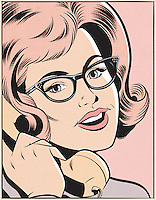 Woman wearing glasses talking on old-fashioned telephone