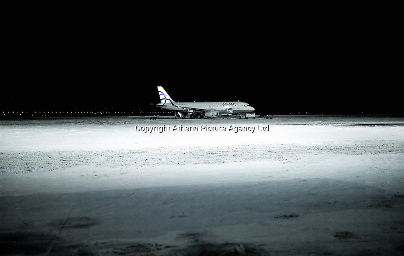 Pictured: The snow covered Macedonia Airport in Salonica, northern Greece in the early hours of the morning. Thursday 12 January 2017<br /> Re: Heavy snow has affected most parts of Greece.