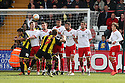 Sam Saunders of Brentford scores. - Stevenage v Brentford - npower League 1 - Lamex Stadium, Stevenage - 21st April, 2012. © Kevin Coleman 2012