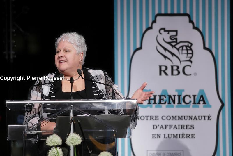 Maria Labrecque-Duchesneau<br /> <br /> <br />  au Gala Phenicia de la Chambre de Commerce LGBT du Qu&eacute;bec, tenu au Parquet de la Caisse de Depots et Placements du Quebec, jeudi, 26 mai 2016.<br /> <br /> <br /> PHOTO : Pierre Roussel -  Agence Quebec Presse