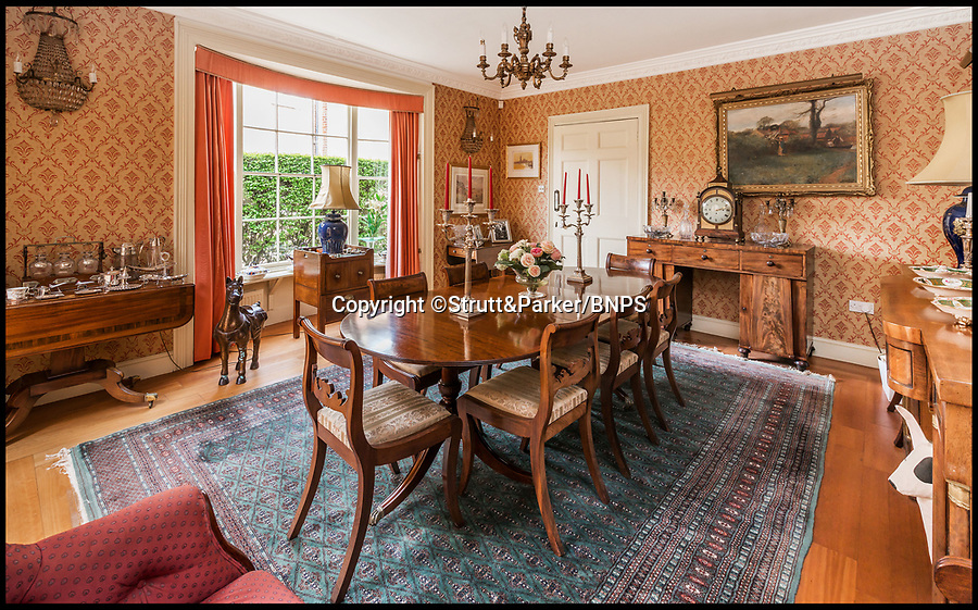 BNPS.co.uk (01202 558833)<br /> Pic: Strutt&amp;Parker/BNPS<br /> <br /> Dining room.<br /> <br /> Hello Sailor? - The perfect seaside residence for a lover of the sea.<br /> <br /> A luxury harbourside home with its own private dock in the back garden has launched on to the market - but you'll need a pirates treasure to afford it.<br /> <br /> &pound;3.4million Wharf House is located in one of the country's best sailing communities in Emsworth, Hants, and is surrounded by water.<br /> <br /> From the front it has spectacular views over Chichester Harbour and at the back there is a mooring space for a large boat.