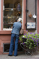 Europe/Allemagne/Bade-Würrtemberg/Heidelberg: Haspelgasse détail vitrine des brocanteurs