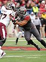 Arkansas Razorbacks Trey Flowers (86) during a game against the Mississippi State Bulldogs on November 23, 2013 at War Memorial Stadium in Little Rock, AR. Mississippi State beat Arkansas 24-17 in OT.