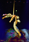 Pair of butterflies perform swooping ballet on erial straps by Catherine Audy & Alexis Trudel from Canada.  OVO - Cirque du Soleil at the Von Braun Center Propst Arena. (Bob Gathany/bgathany@AL.com)