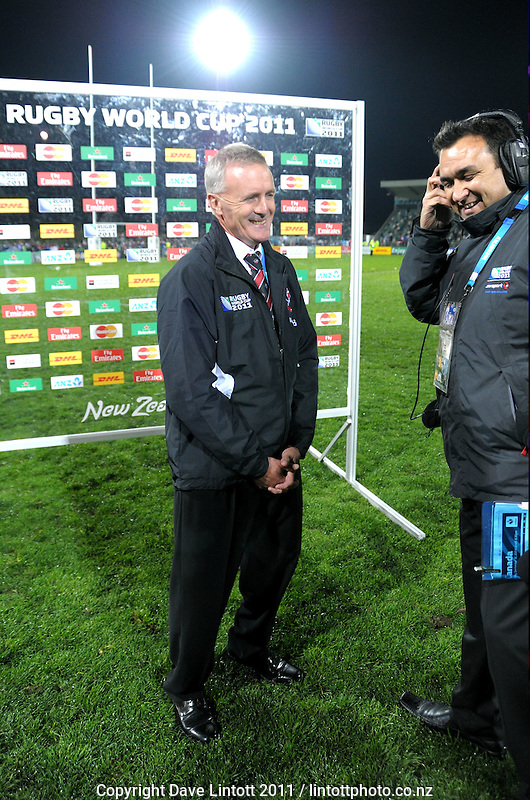 Canada coach Kieran Crowley jokes with Skysport presenter Richard Turner after the France v Canada pool A match of the 2011 IRB Rugby World Cup at McLean Park, Napier, New Zealand on Sunday, 18 September 2011. Photo: Dave Lintott / lintottphoto.co.nz