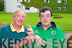 Killarney golfer Michael O'Leary celebrates with his coach Mike Murphy Kenmare after winning a Silver Medal at the Special Olympics in Greece at his home coming in the Malton Hotel on Saturday night