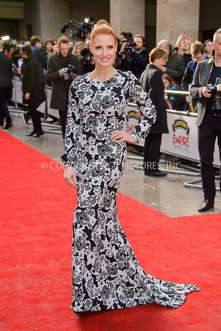 WWW.ACEPIXS.COM<br /> <br /> March 29 2015, London<br /> <br /> Jessica Chastain attends the Jameson Empire Awards at the Grosvenor Hotel on March 29 2015 in London.<br /> <br /> By Line: Famous/ACE Pictures<br /> <br /> <br /> ACE Pictures, Inc.<br /> tel: 646 769 0430<br /> Email: info@acepixs.com<br /> www.acepixs.com