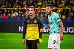 05.11.2019, Signal Iduna Park, Dortmund , GER, Champions League, Gruppenphase, Borussia Dortmund vs Inter Mailand, UEFA REGULATIONS PROHIBIT ANY USE OF PHOTOGRAPHS AS IMAGE SEQUENCES AND/OR QUASI-VIDEO<br /> <br /> im Bild | picture shows:<br /> Mario Goetze (Borussia Dortmund #10) mit Cristiano Biraghi (Inter #34),<br /> <br /> Foto © nordphoto / Rauch