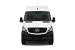 Car photography straight front view of a 2016 Mercedes Benz Sprinter 2500-144-WB-High-Roof 4 Door Cargo Van Front View